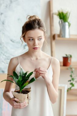 beautiful tender young woman holding potted plant and looking away in art studio