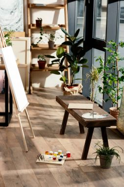 interior of artist studio with painting supplies, potted plants and bench
