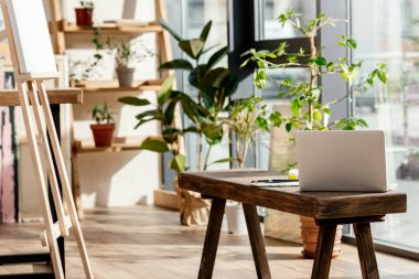 interior of artist studio with laptop, potted plants and easel