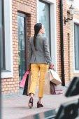 zadní pohled na ženu s nákupní tašky