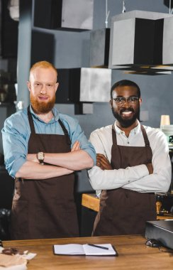 portrait of young multicultural owners of coffee shop in aprons standing with crossed arms in coffee shop