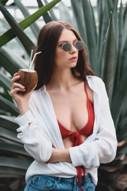 attractive girl in sunglasses posing with coconut cocktail in tropical garden