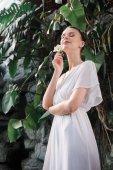 Fotografie krásná nevěsta v bílých šatech s květinou ve vlasech pózuje v tropické zahradě