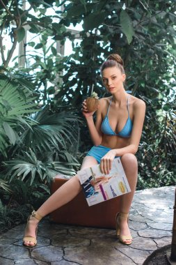 beautiful girl in bikini posing with coconut water and travel magazine while sitting on suitcase in tropical garden