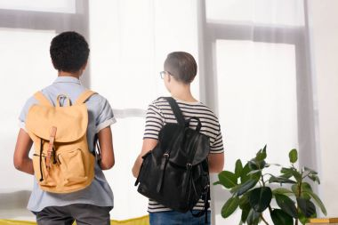 back view of multicultural teen boys standing with bags at home
