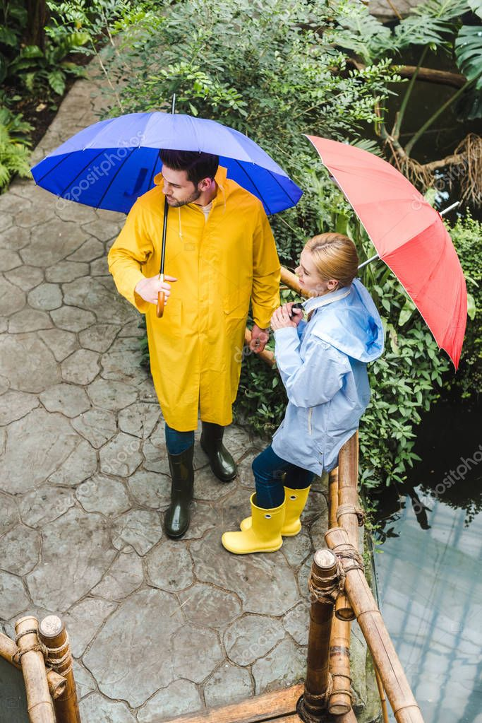 high angle view of young couple in raincoats with umbrellas spending time at park with exotic plants
