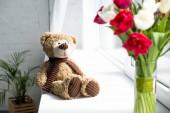 Fotografie Selektivní fokus medvídek a Kytice tulipánů ve váze o okenní parapet doma