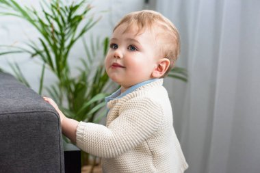 side view of cute little baby standing at sofa at home