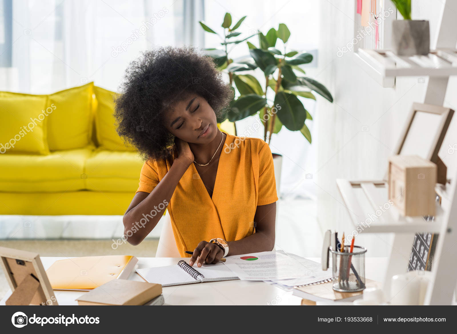 Tired African American Freelancer Papers Notebook Workplace Home Office U2014  Stock Photo