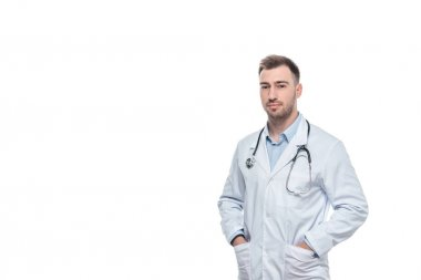 young male doctor with stethoscope isolated on white background