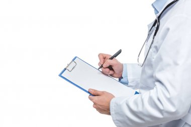 cropped image of male doctor writing diagnosis in clipboard isolated on white background