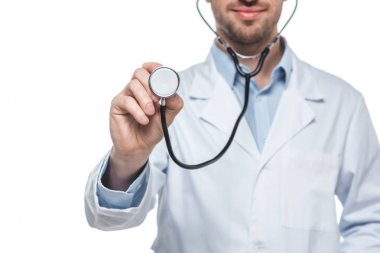 cropped shot of male doctor with stethoscope isolated on white background