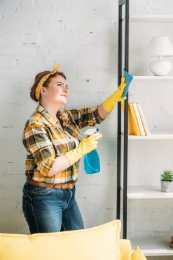 beautiful woman dusting shelves at home