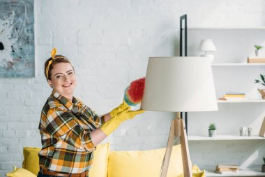beautiful woman dusting lamp with dust brush at home