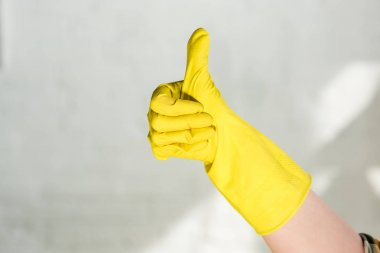 cropped image of woman in rubber glove showing thumb up while cleaning at home