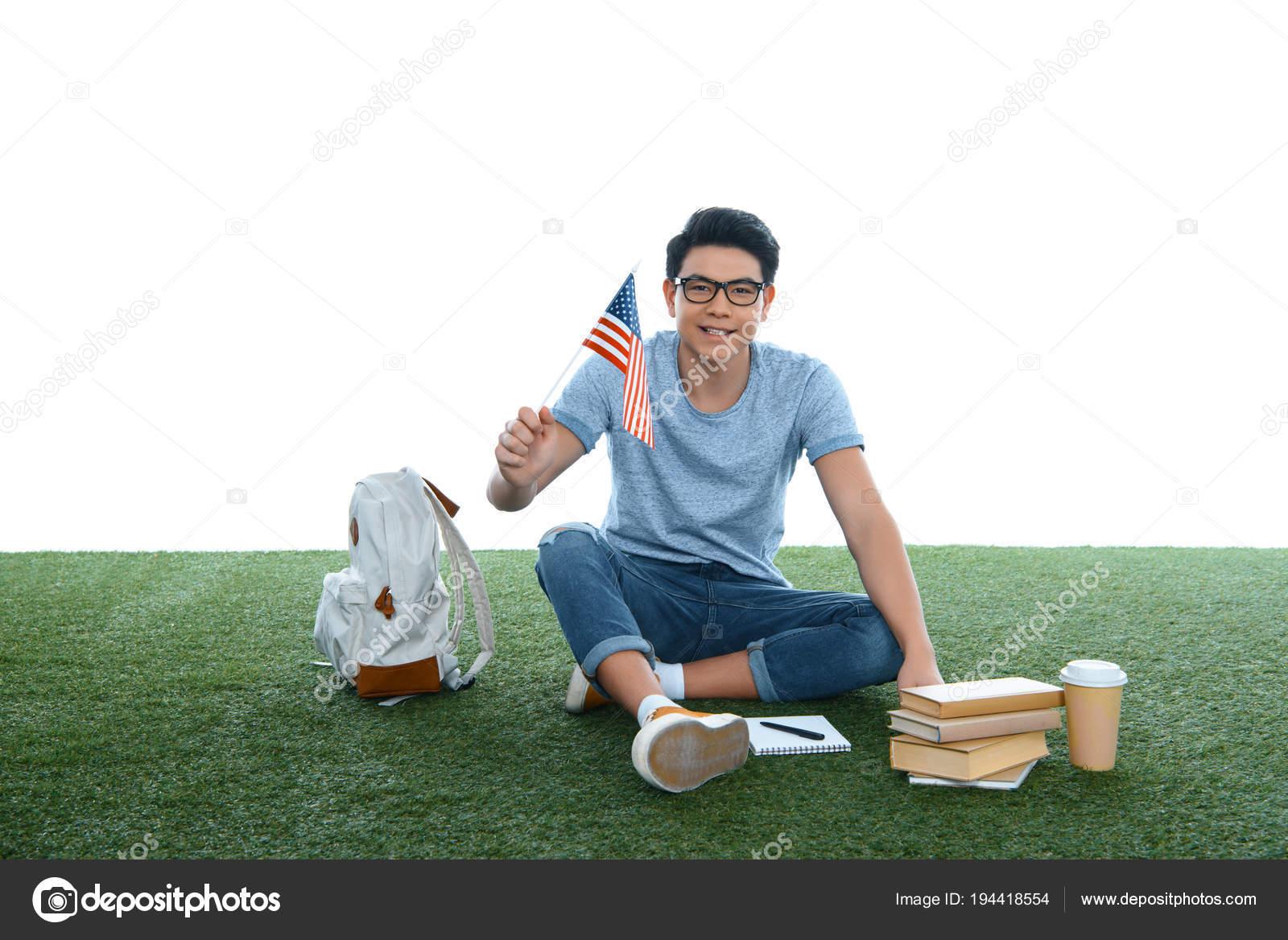 Teen Asian Student Boy Usa Flag Sitting Grass Isolated White — Stock Photo