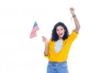 celebrative teenage african american student girl with usa flag isolated on white