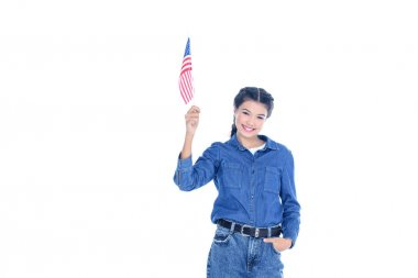 Successful teenage student girl with usa flag in raised hand isolated on white stock vector