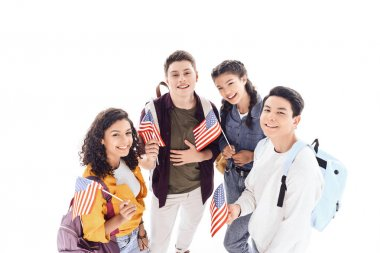 Multiethnic teen students holding usa flags isolated on white stock vector