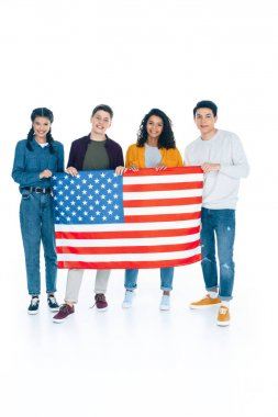 happy multiethnic students with usa flag isolated on white