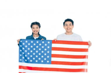 multiethnic teenage students with usa flag isolated on white