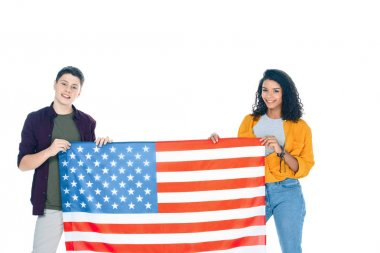 Happy teenage students with usa flag isolated on white stock vector