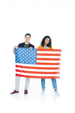 Smiling teenage students with usa flag isolated on white stock vector