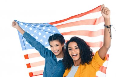 teenage student girls with usa flag isolated on white