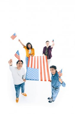 High angle view of group of multiethnic teens with usa flags isolated on white stock vector