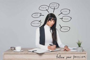 attractive brunette businesswoman writing something at table isolated on gray with speech bubbles and follow your passion inscription