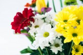 Photo close-up view of beautiful bouquet of blooming flowers isolated on grey