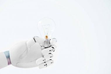 Close-up view of hand of robot holding light bulb isolated on white stock vector