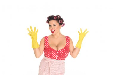 Shocked plus size woman in rubber gloves isolated on white stock vector
