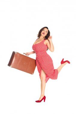 happy plus size woman with vintage suitcase isolated on white