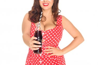 cropped shot of plus size woman with bottle of soda isolated on white