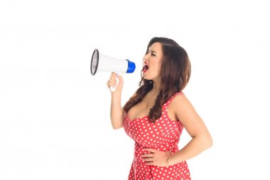 mad plus size woman shouting at loudspeaker isolated on white