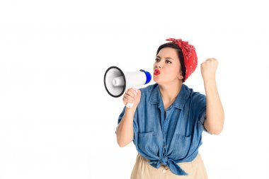 emotional pin up woman speaking in megaphone and shaking fist isolated on white