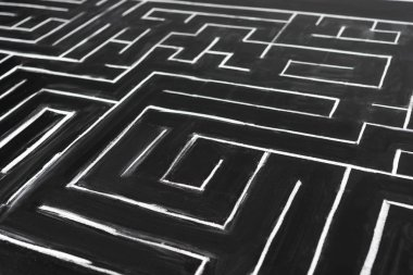 high angle view of painted labyrinth with copy space