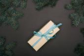 Top pohled na vánoční dárek se smrkovými větvemi na černé