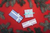 Fotografie vrchní pohled na vánoční dárkové krabice se smrkovými větvemi na červené