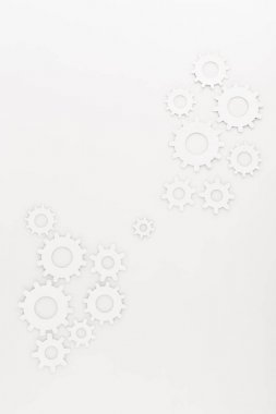 Top view of round gears isolated on white stock vector