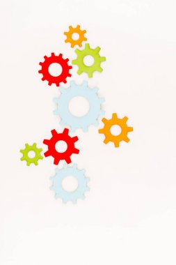 Top view of colorful gears isolated on white stock vector