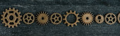 Fotografie flat lay with vintage metal gears on dark wooden background, panoramic shot