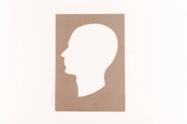 Top view of human head silhouette isolated on white stock vector