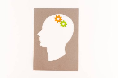 Top view of human head silhouette with gears isolated on white stock vector