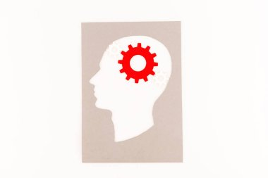 Top view of human head silhouette with red gear isolated on white stock vector