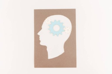 Top view of human head silhouette with blue gear isolated on white stock vector