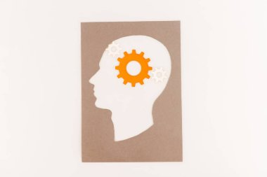 Top view of human head silhouette with orange gear isolated on white stock vector