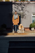 Photo Blind man with guide dog and walking stick crossing road at street