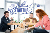three friends working and asking paw of cute golden retriever with startup illustration